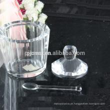 pote de cristal, pote de sorvete de cristal com colher, jarras de lanche de cristal