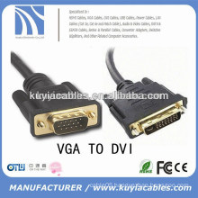 high speed VGA SVGA To DVI DVI-I Extension Cable Male to Male Black
