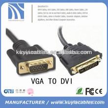 Alta velocidade VGA SVGA Para DVI DVI-I Cabo de Extensão Masculino para Preto Masculino