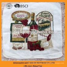 Alibaba atacado personalizado tela de algodão pano de terry toalha de chá impressa