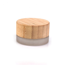 7ml frosted glass eye cream jar with bamboo lid  cosmetic jar with bamboo lid