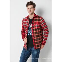 Chemise en flanelle à carreaux teints en fil pour homme