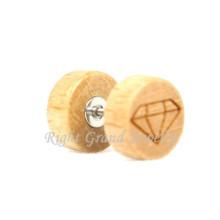 Diamant-Logo geschnitzt organischen Holz gefälschte Tunnel Piercing Schmuck