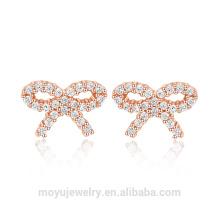 Mini joyería linda del oro del bowknot de la plata esterlina 925 fijada