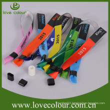 High quality colourful custom logo friendship satin wrist bands