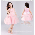 Factory direct supply party wear pink color knee length sleeveless dress for girl 2-10 year