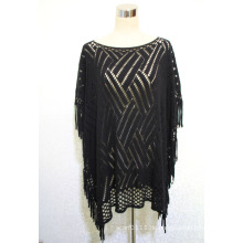 Dame 100% Acryl Gestrickte Mode Hohl Fransen Schal Poncho (YKY4512)