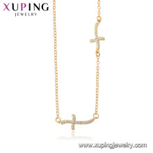 44518 xuping 18 k cor de ouro atacado moda jóias religião cruz colar