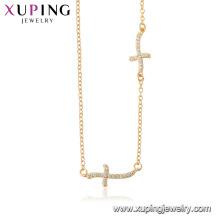 44518 xuping 18k золото цвет ювелирные изделия религия крест ожерелье