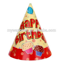 Party decoration popular tropical glossy lamination happy birthday party paper hat