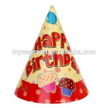 Decoração de festa, popular, laminação brilhante tropical, feliz aniversario, festa, papel, chapéu