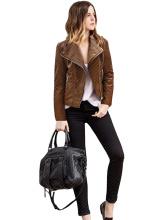 Plus Size Fashion Women Outwears Female Winter Solid Brown Jacket
