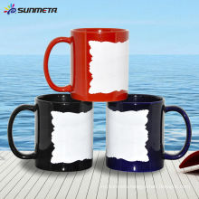 11oz ceramic blank coating sublimation mug with white patch (irregular edge)