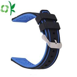 Silicone Watchband Two-Color Sport Strap Black/Silver Buckle