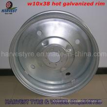 11.2-38 R1 Juego de llantas de riego con llanta galvanizada en caliente (W10X38)