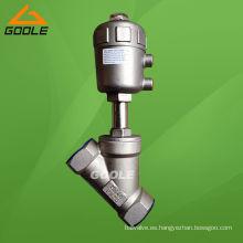 Válvula de asiento de ángulo roscado neumático de patrón Y en acero inoxidable (GAYASV)