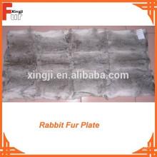 Plaque en fourrure de lapin gris naturel