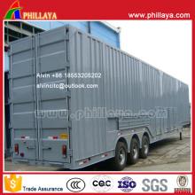 Remorque de camion de transport de voiture fermée à trois essieux de 13,9 m 9ton