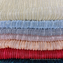 Manufacturer  custom textiles 100% polyester crinkled pleated lurex fabric girl dress mesh crumple fabrics for dresses