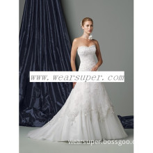 Strapless lace and illusion full A-line gown cheap wedding dresses