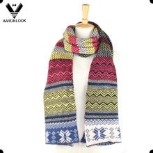 Модный зимний цветной жаккардовый многоцветный шарф