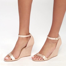 FACTORY WHOLESALE LATEST DESIGN ROSE GOLD GIRLS ADJUSTABLE ANKLE STRAP WEDGE SANDALS
