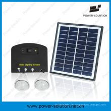 4W Sonnenkollektor-Sonnensystem mit 2 Lichtern Handy-Ladegerät