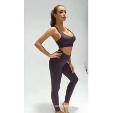 Fato de ioga esportivo feminino de cor sólida respirável