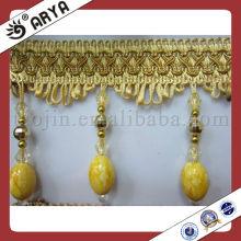 Cortina frangalada dourada com fraldas frangas, Fralda frisada de vidro