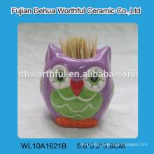 Superior quality ceramic toothpick holder with cute owl design