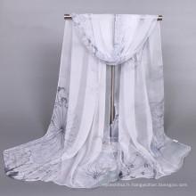 Mode femmes hijab écharpe impression numérique douce écharpe en soie de conception personnalisée