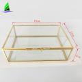 OEM glass crafts rectangle gold geometric glass terrarium