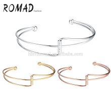 Joyería moda mujeres brazalete de oro falso con multi color brazalete de diamantes pulseras de las mujeres al por mayor