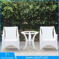 Mesa de comedor de ratán blanco al aire libre de lujo 4 plazas