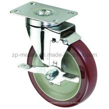Roulettes à roulettes Biaxiale de taille moyenne en PVC de 3 pouces avec frein latéral