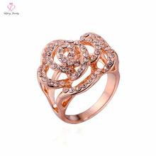 Ajuste de peso leve de Dubai sem anel de ouro de coroa de pedra, 1 2 3 grama Design fantasia flor forma anel de ouro rosa