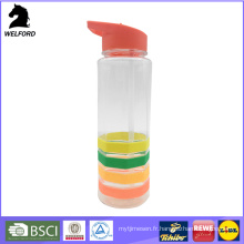 Bouteille d'eau plastique de 750 ml avec bande de silicone colorée
