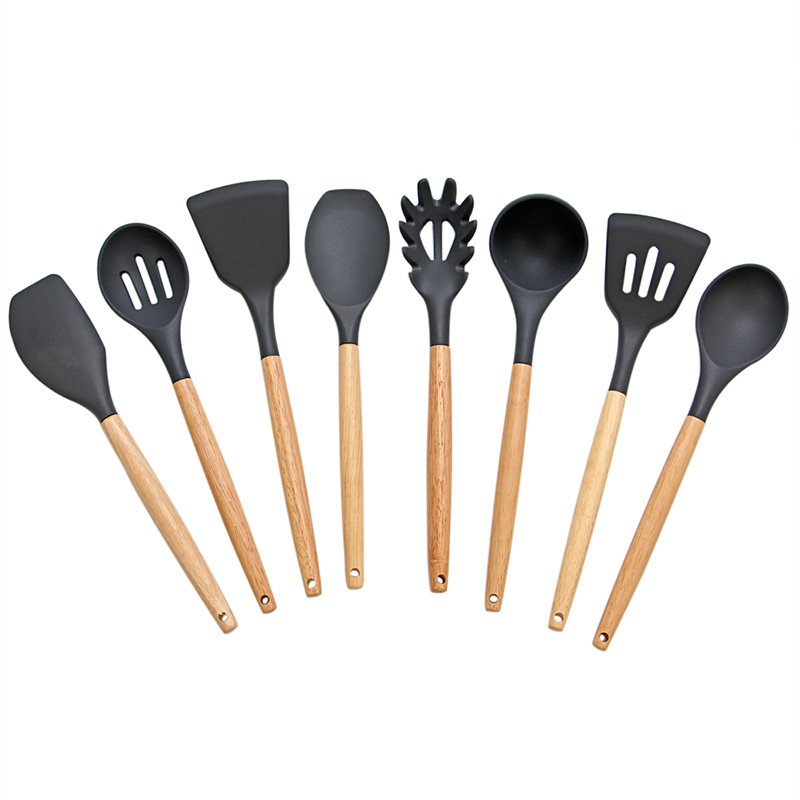 8 Piece Silicone Kitchen Utensils Heat Resistant Cooking Utensil Set