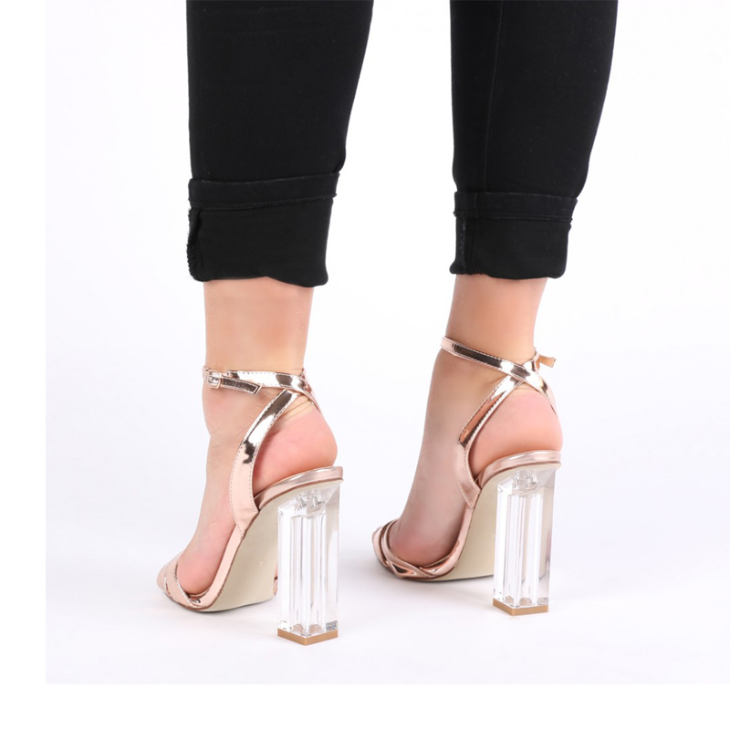 roma style silver PU leather ladies shoes