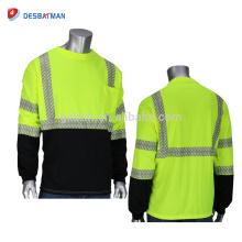 Durable ligero respirable Hi Vis Viz Security T-shirt 100% poliéster Ropa de trabajo de seguridad con bolsillo y tiras reflectantes
