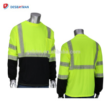 Durable Lightweight Breathable Hi Vis Viz Security T-shirt 100% Polyester Safety Work Clothing With Pocket And Reflective Strips