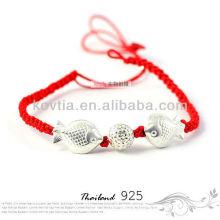 925 bracelets en argent de chaîne de poissons en or nouveau produit bracelet en corde tressée