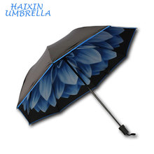 Top quality customized logo Fashion Flower Printed Inside 21 Inch Reverse Folding Umbrella