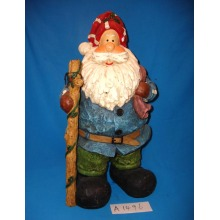 Grande tamanho pintado à mão Polyresin Papai Noel