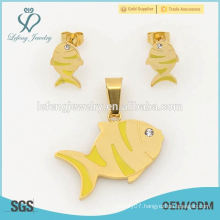 Cute fish earrings & lockets sets, 316l yellow gold big fashion jewelry set wholesale