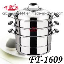 3 camadas de aço inoxidável economizadora de energia Steamer panela (FT-1609)
