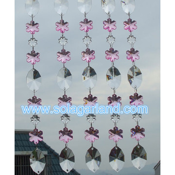 28MM Pink Snowflake Acrylic Crystal Beaded Garland Party Supplier