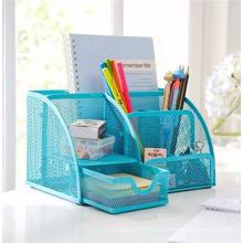 Artigos de escritório escritório azul organizador de mesa de malha de arame azul