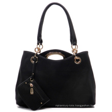 Fashion PU Leather Tote Bag 2 in 1 Set Lady Handbag