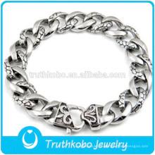 Top Quality Skull Bracelet Hommes garçons en acier inoxydable 316L Cool Skull Fleur De Lis Liens Bracelet pour hommes